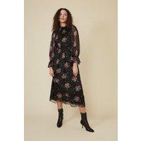 Womens Floral Spot Piecrust Midi Dress - black, Black