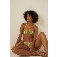 Womens Shiny Floral Bikini Bottom - sage, Sage