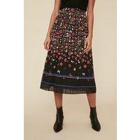 Womens Floral Border Printed Skirt