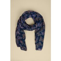 Womens Ditsy Butterfly Print Lightweight Scarf - navy, Navy