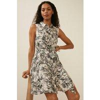 Womens Printed Linen Mini Sleeveless Shirt Dress