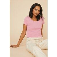 Womens Cotton Scoop Neck Short Sleeve Top - pink, Pink