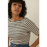 Womens Organic Cotton Stripe Slash Neck Top - blackwhite, Blackwhite