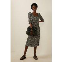 Womens  Square Neck Midi Dress