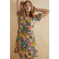 Womens Bright Floral Tie Sleeve Tea Dress