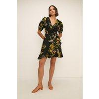 Womens Floral Printed Linen Wrap Dress - multi, Multi