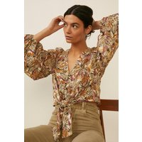 Womens Tropical Elephant Printed Tie Front Top