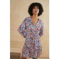 Womens Paint Stroke Floral Printed Flippy Skirt