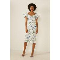 Womens Floral Spot Wrap Detail Bardot Pencil Dress - multi, Multi