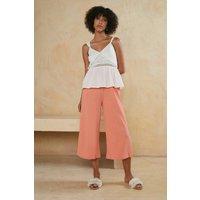 Womens Textured Crop Wide Leg Trouser - orange, Orange