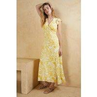 Womens V Plunge Frill Shoulder Printed Midi Dress