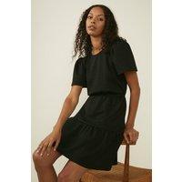 Womens Petite Textured Tiered Mini Dress