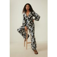 Womens Petites Vertical Floral Print Slouch Trousers