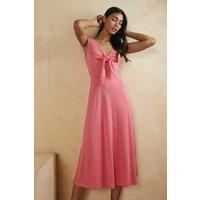 Womens Modal Blend Tie Front Midi Dress