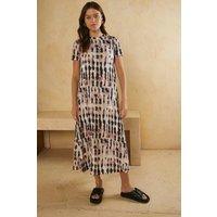 Womens Printed Tie Dye Mesh Trapeze Midiaxi Dress