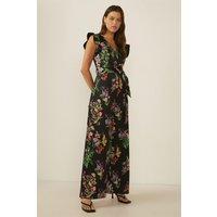 Womens  Floral Print Tie Waist Scuba Jumpsuit