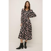 Womens Petite Ditsy Print Midi Jersey Shirt Dress