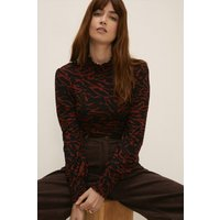 Womens Animal Shir Neck And Cuff Top