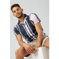 Navy And Pink Striped Revere Shirt