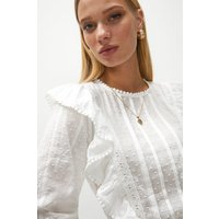 Coast Frill And Lace Detail Dobby Blouse -, White