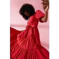 Coast TieCotton Poplin Maxi Dress -, Red
