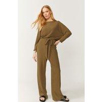 Coast Ribbed Batwing Jersey Jumpsuit - Green, Khaki