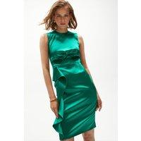 Coast Premium Italian Satin Bow Front Dress -, Green