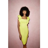 Coast Frill Sleeve Pencil Skirt Scuba Dress -, Bright Yellow
