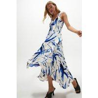 Coast Wide Strap Printed Wrap Dress -, Blue