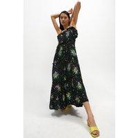 Coast Frill Detail Printed Tiered Maxi Dress -, Black