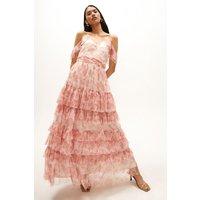 Coast Printed Mesh Tiered Maxi Dress -, Pink
