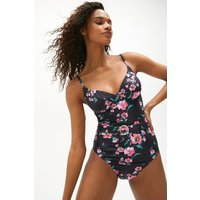 Coast Belted Floral Swimsuit -, Black