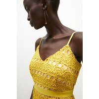 Coast Geo Lace Strappy Midi Dress -, Yellow