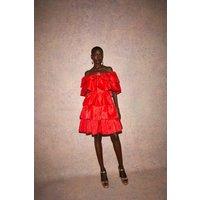 Coast LayeRuffle Bardot Dress -, Red
