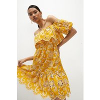 Coast Short Ruffle Broderie Dress -, Yellow