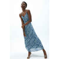 Coast Ruched V Neck Strappy Midi Dress -, Blue