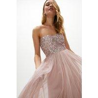 Coast Sequin Bodice Bandeau Maxi Dress -, Pink