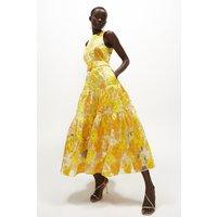 Coast Premium Jacquard Tiered Midaxi Dress -, Yellow