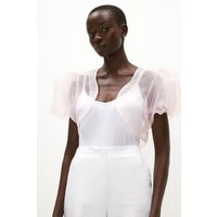 Coast Puff Sleeve Organza Cover Up -, Pink