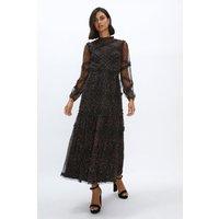 Coast Midaxi Mesh Ruffled Dress -, Leopard