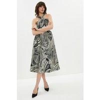 Coast Cross Front Jacquard Full Skirt Midi Dress, Multi