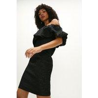Coast Mini Jacquard Ruffle Dress -, Black