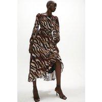 Coast Ruffle Hem Stripe Animal Dress -, Neutral