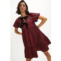 Coast Velvet Bow Detail Jacquard Dress -, Red