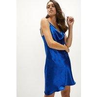 Coast Satin Cowl Neck Mini Dress -, Blue