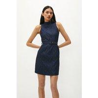 Coast High Neck Mini Dress With Belt -, Blue