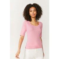 Coast Scoop Neck Half Sleeve Cotton Top -, Pink
