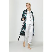 Coast Printed Satin dressing gown -, Black