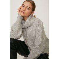 Coast Oversized Roll Neck Knit -, Grey Marl