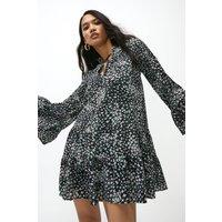 Coast Ditsy Tiered Hem Short Dress -, Black
